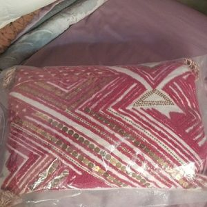 Anthropologie Hot Pink Gold Sequin Pillow